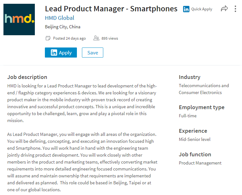 HMD Global Opened A Position For A U201cLead Product Manager For Smartphonesu201d.  The Description Says That HMD Is Looking For A U201cLead Product Manager To  Lead ...