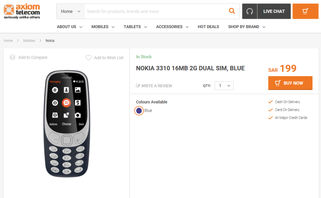 Official: #Nokia 3310 available by #Axiom Telecom in #Saudi