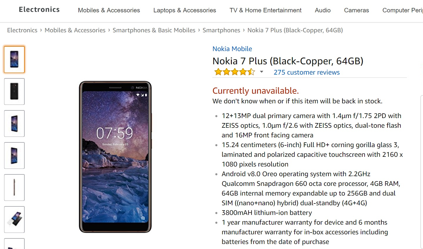 79872c63 A week after the Nokia 7 plus went on sale in India, the exclusive online  retail partner Amazon.in is out of stock. If you open the product page of  Nokia 7 ...