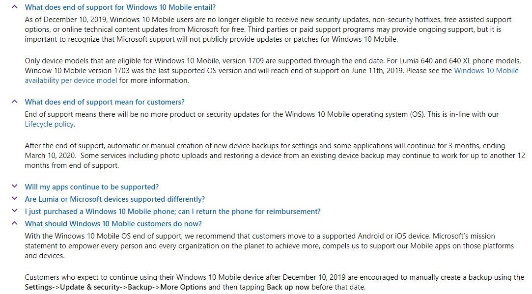 Windows 10 Mobile Support Ends This Year