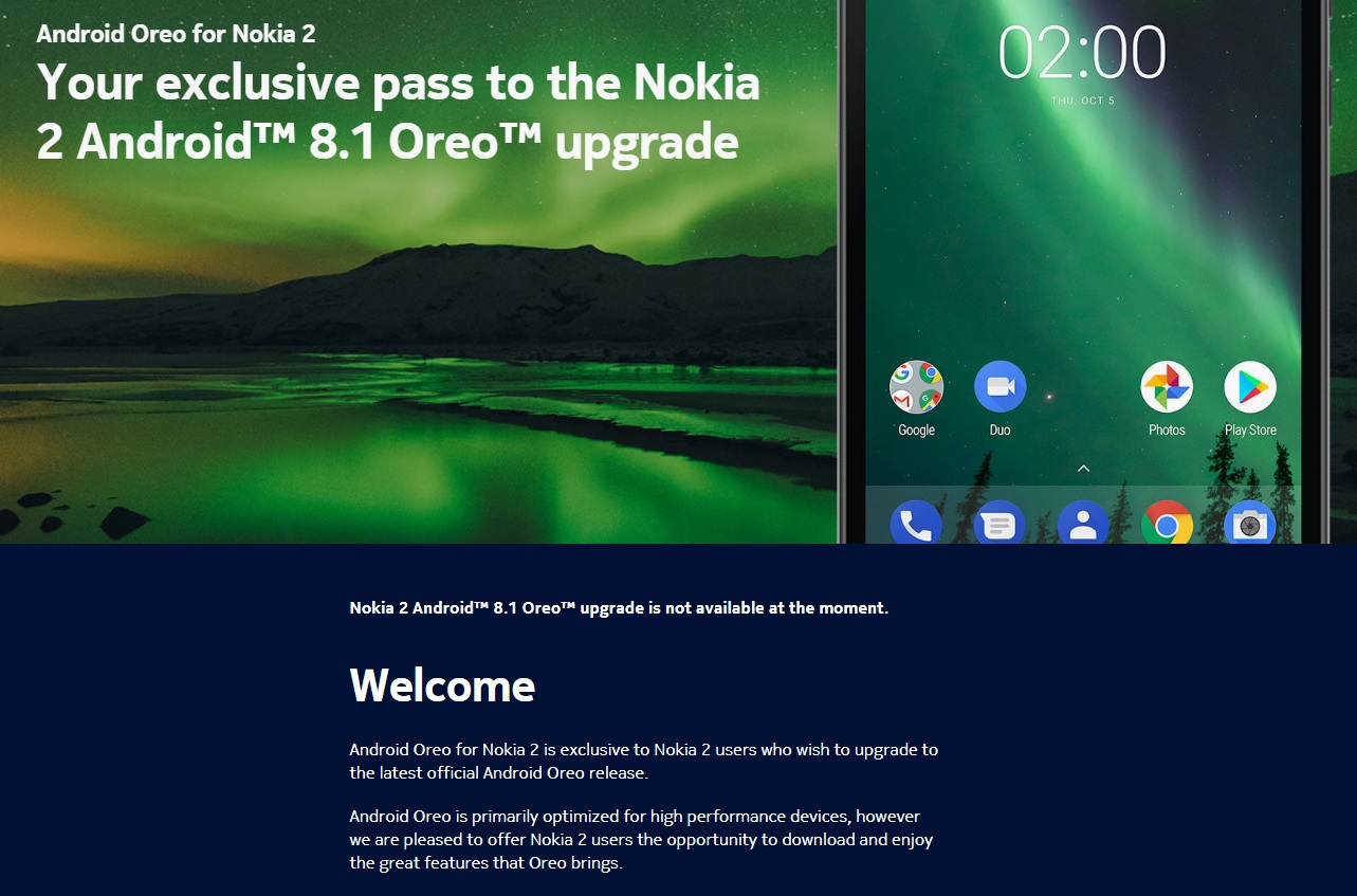 Androi 8 1 Oreo update for Nokia 2 not available at the