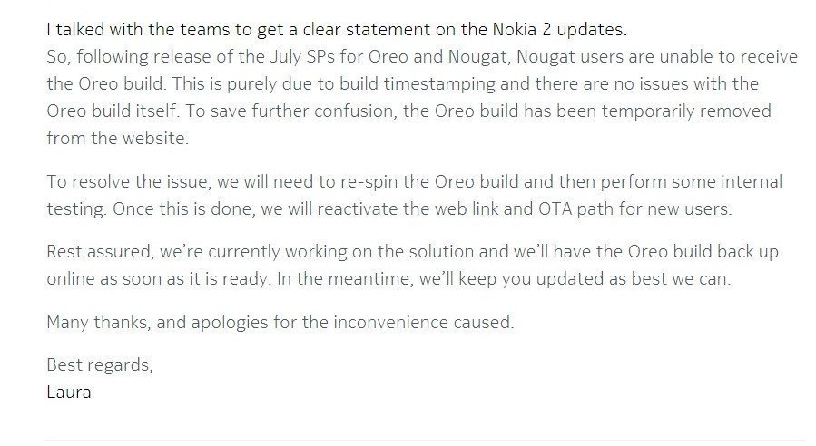 Androi 8 1 Oreo update for Nokia 2 not available at the moment