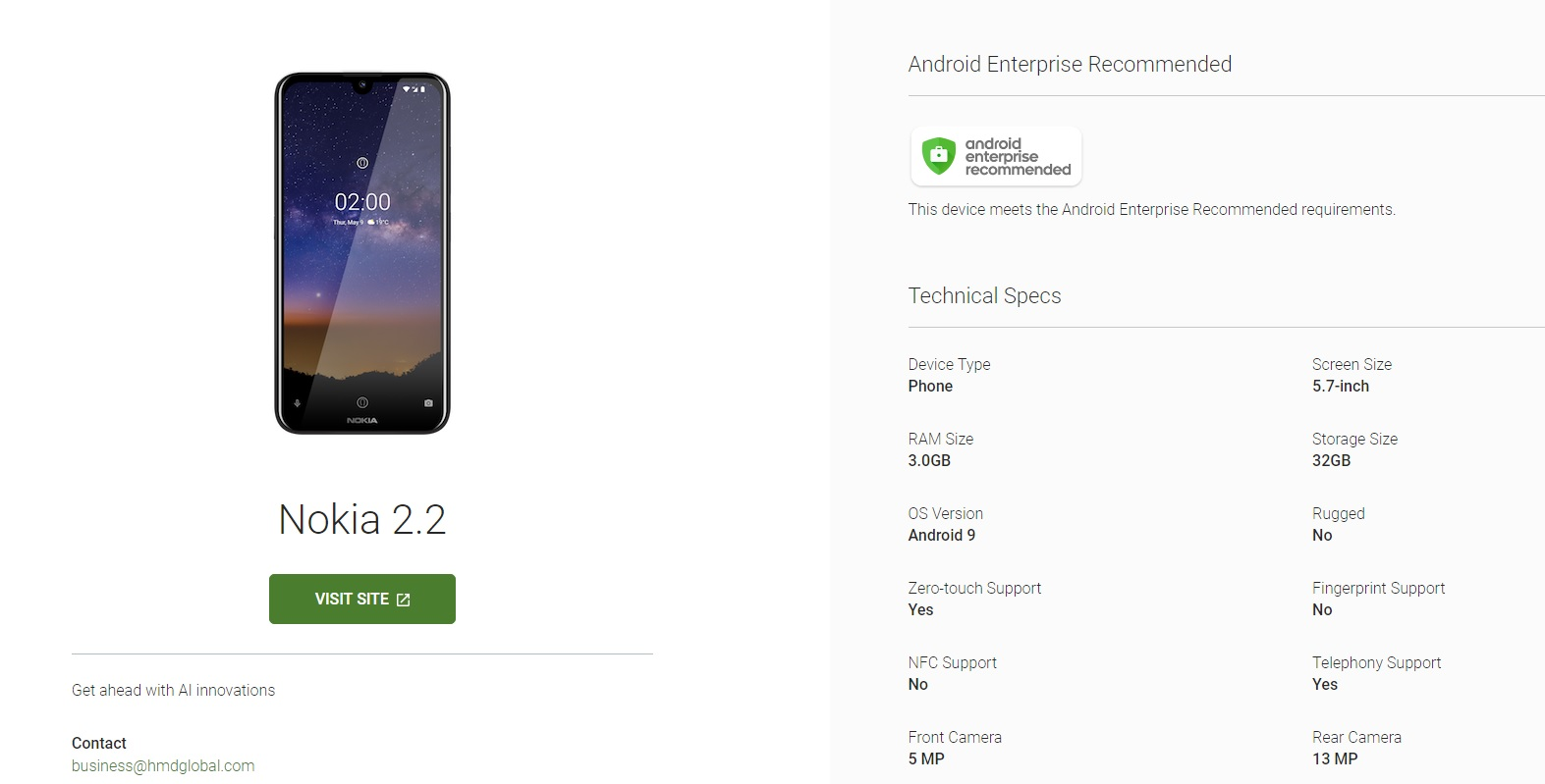 Nokia 2 2 is now in Android Enterprise Recommended club | Nokiamob